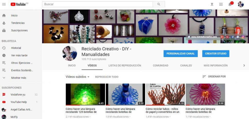 captura canal de YouTube Reciclado Creativo
