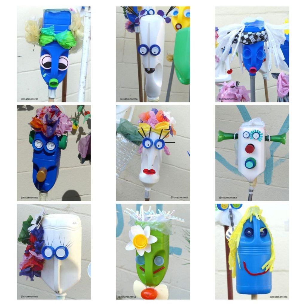 Ninots de falla realizados con garrafas y envases de plástico