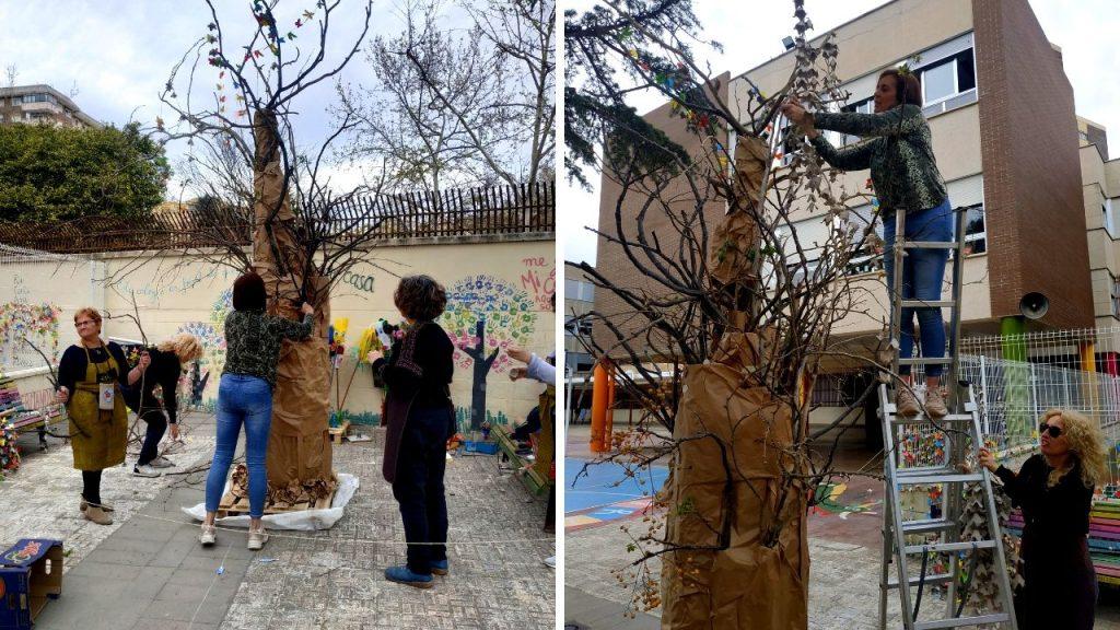 Falla reciclada - Árbol con hueveras de cartón