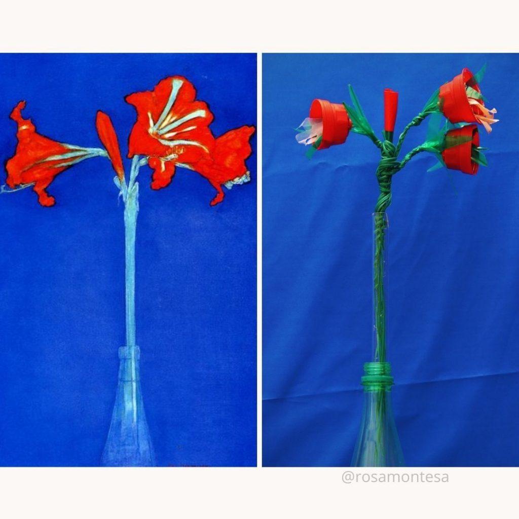 Amaryllis de Mondrian y Flores rojas reciclando de R Montesa