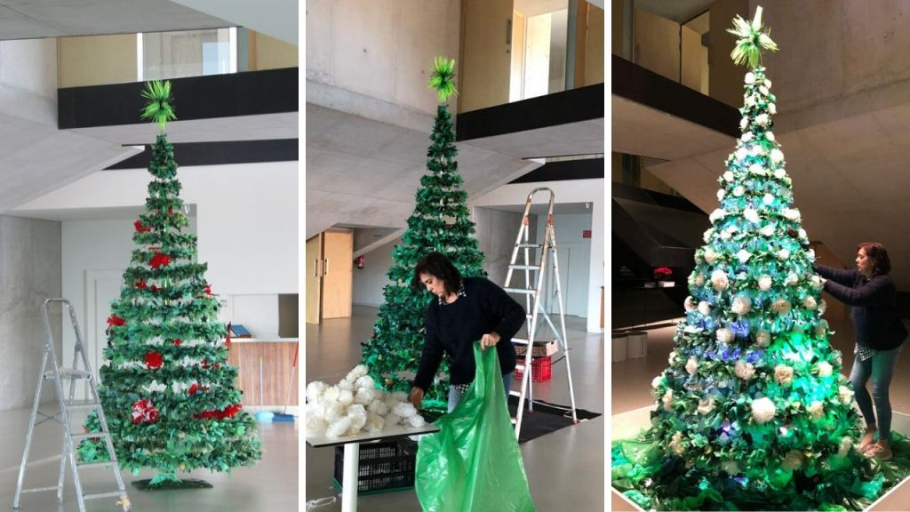 Arbol Navidad reciclando bolsas de plástico - RosaMontesa