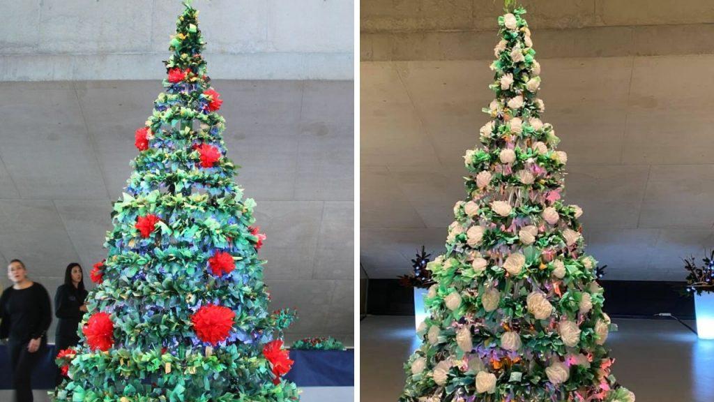 Arbol Navidad reciclando bolsas de plástico - RosaMontesa Fotos de Instagram del Auditori de Teulada-Moraira