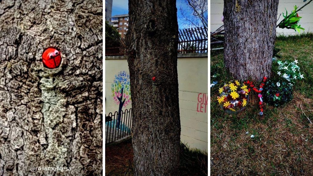 Detalles del jardín con material reciclado
