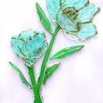 Flores verdes - Rosa Montesa - Pirografiado-soldado de plástico