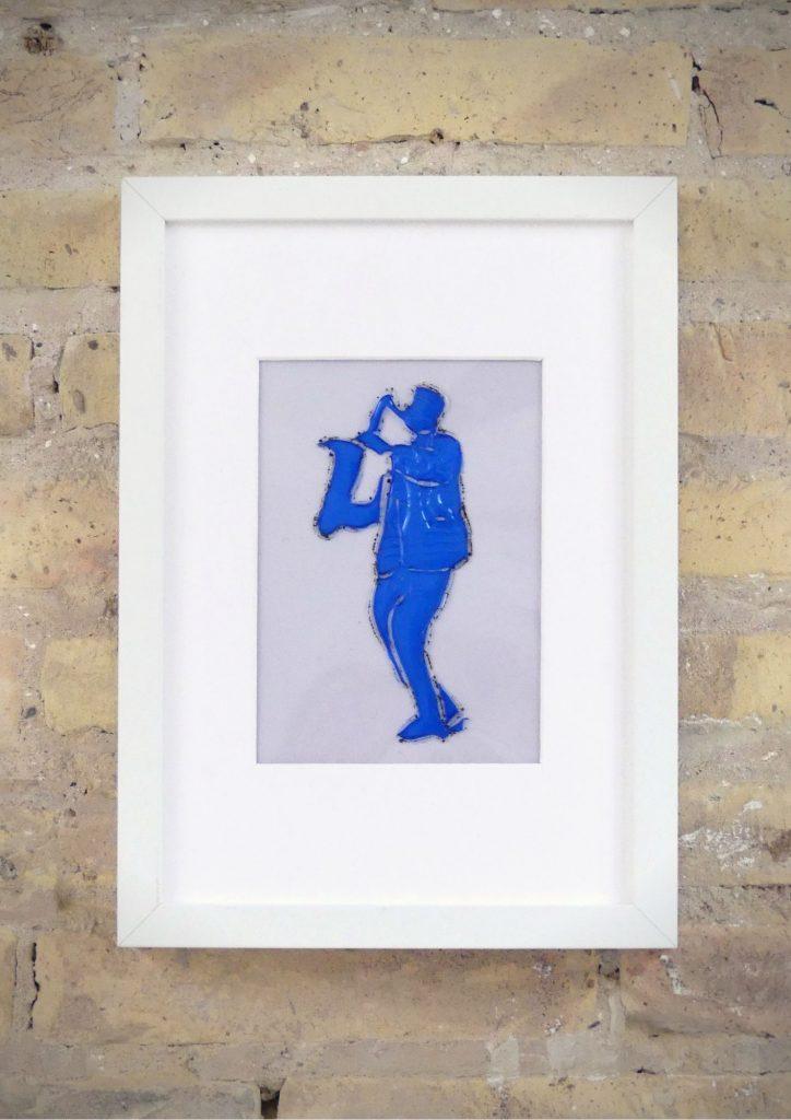 Músico saxo - Rosa Montesa - Pirografiado-soldado de plástico