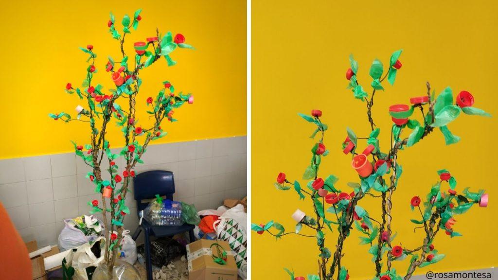 Rosal con tapones y bolsas de plástico en el taller
