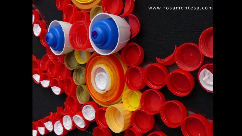Pulpo con tapones de botellas de plástico