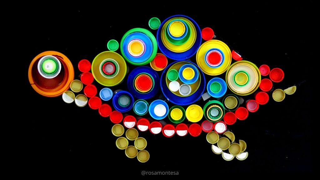 Tortuga mosaico tapones de botellas de plástico rosamontesa